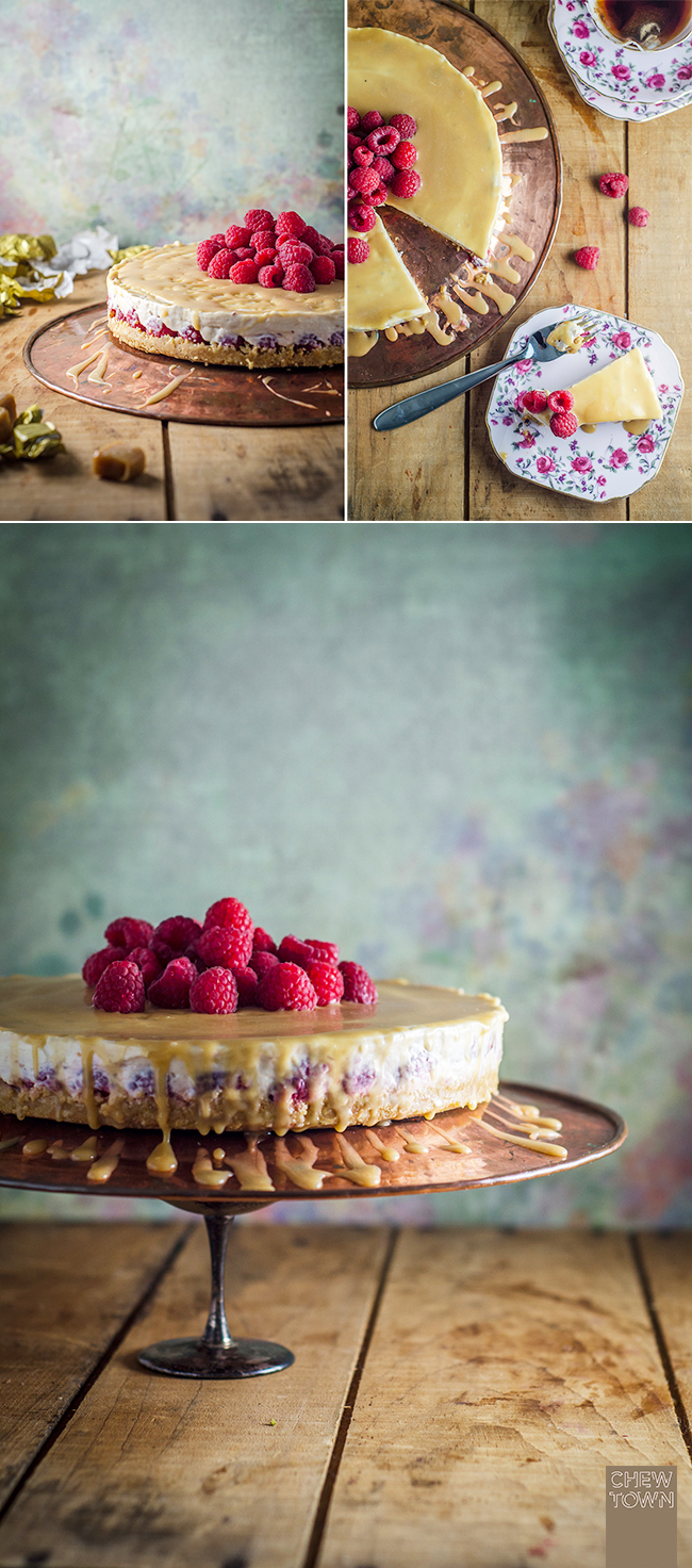 Raspberry No-bake Cheesecake with Toffee Sauce | Chew Town Food Blog
