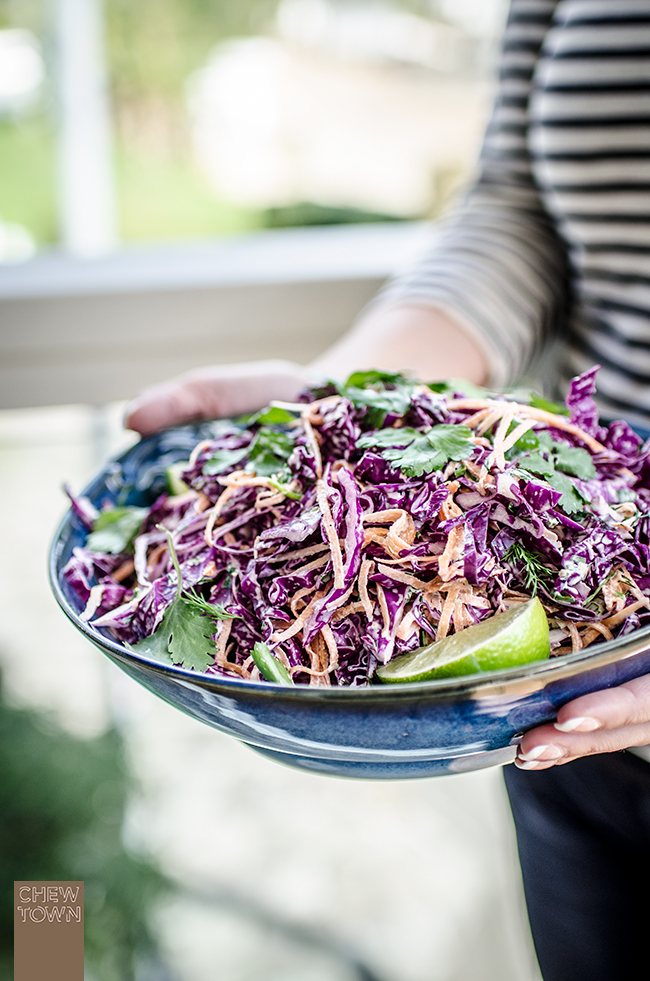 Red Cabbage Coleslaw with Herbed Kewpie | Chew Town Food Blog