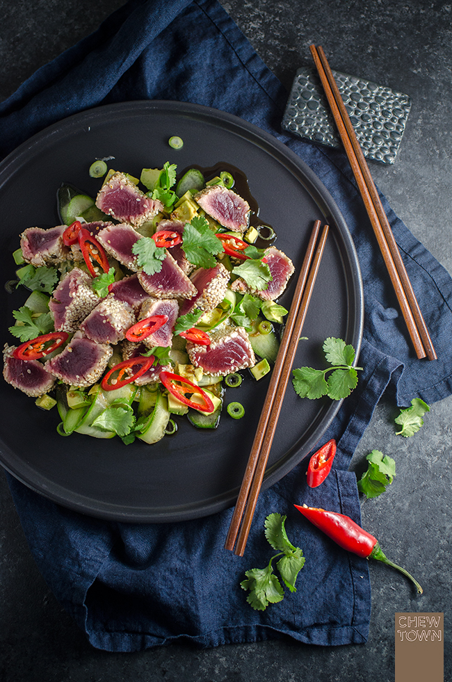 Seared Sesame Tuna with Cucumber and Avocado Salad & The Tsukiji Fish Market, Tokyo | Chew Town Food Blog