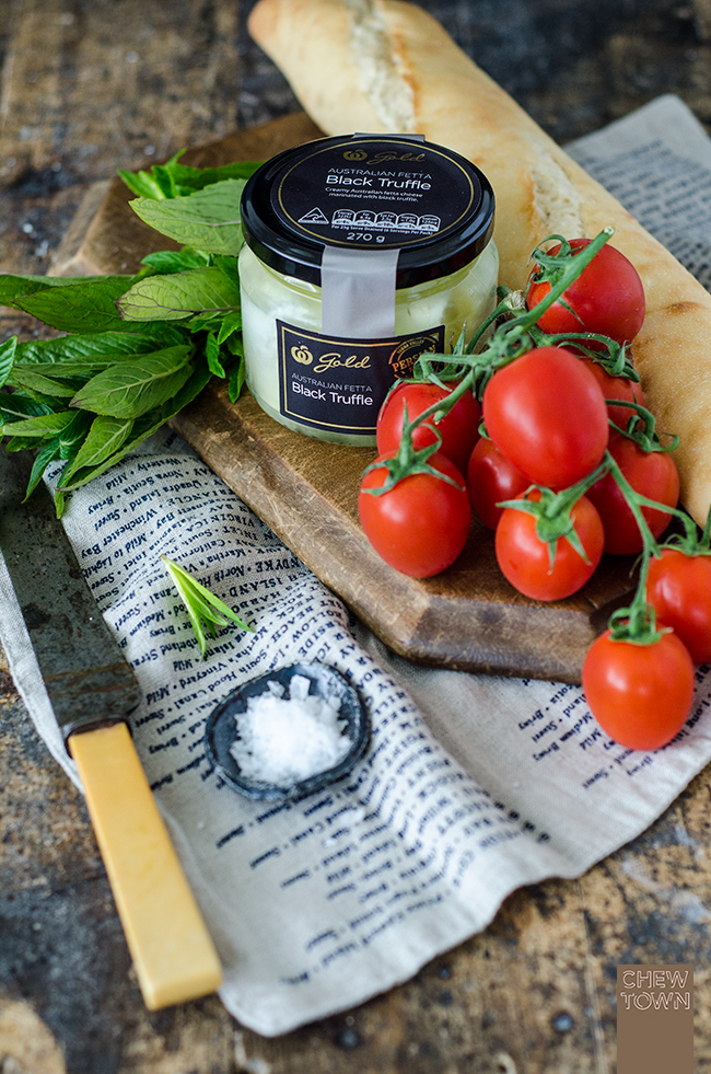 Woolworths-Gold-Cheese-3Whipped Minted Fetta and Tomato Crostini & Halloumi Dukkah Rolls | Chew Town Food Blog