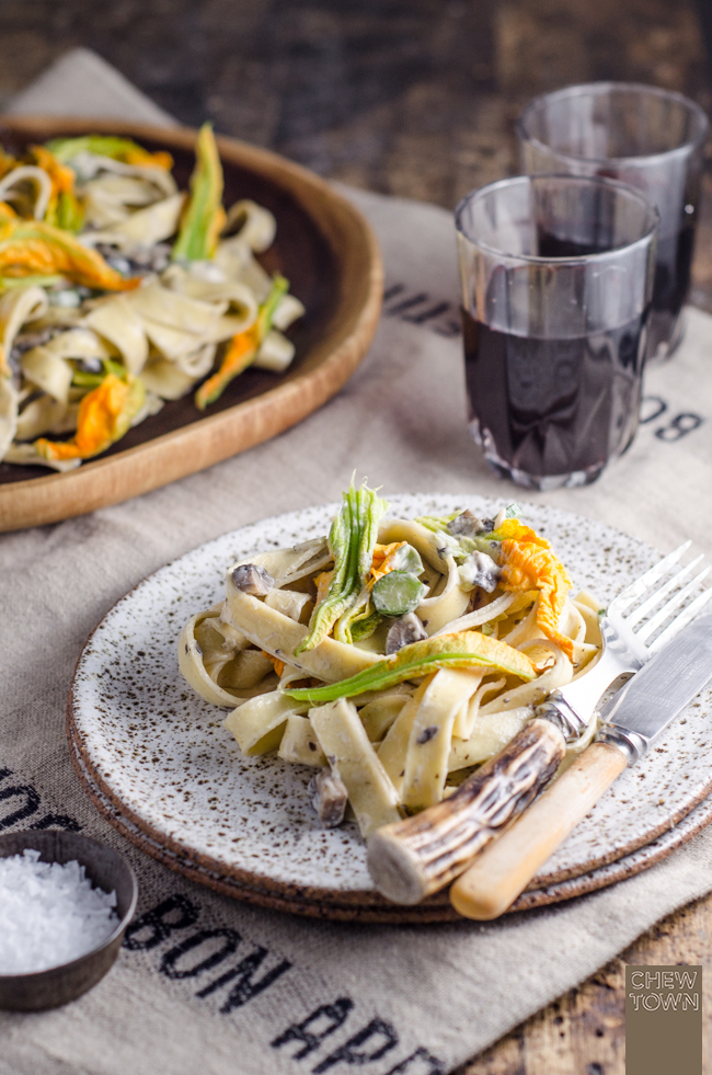 Creamy Mushroom and Zucchini Flower Fettuccine | Chew Town Food Blog