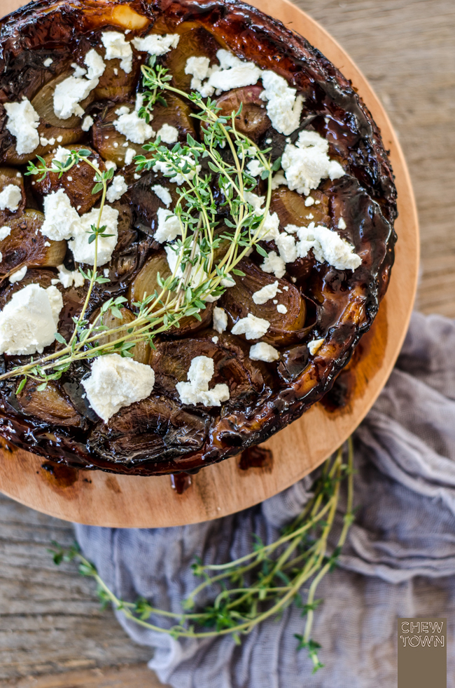 Caramelised Shallot, Thyme and Goats Cheese Tarte Tatin | Chew Town Food Blog