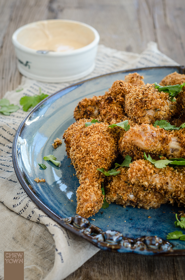 Baked Panko Buttermilk Drumsticks with Hot Sauce Mayo | Chew Town Food Blog