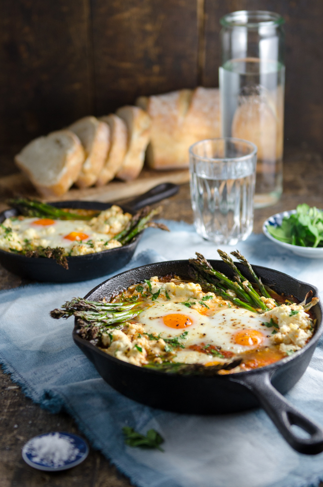 Baked Eggs in Italian Tomato Sugo with Asparagus, Fennel and Ricotta | Chew Town Food Blog