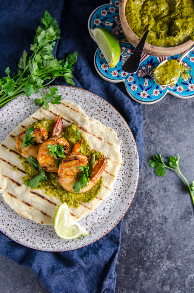 Grilled Spiced Prawns on Homemade Lime Flatbread with Chimichurri Sauce | Chew Town Food Blog