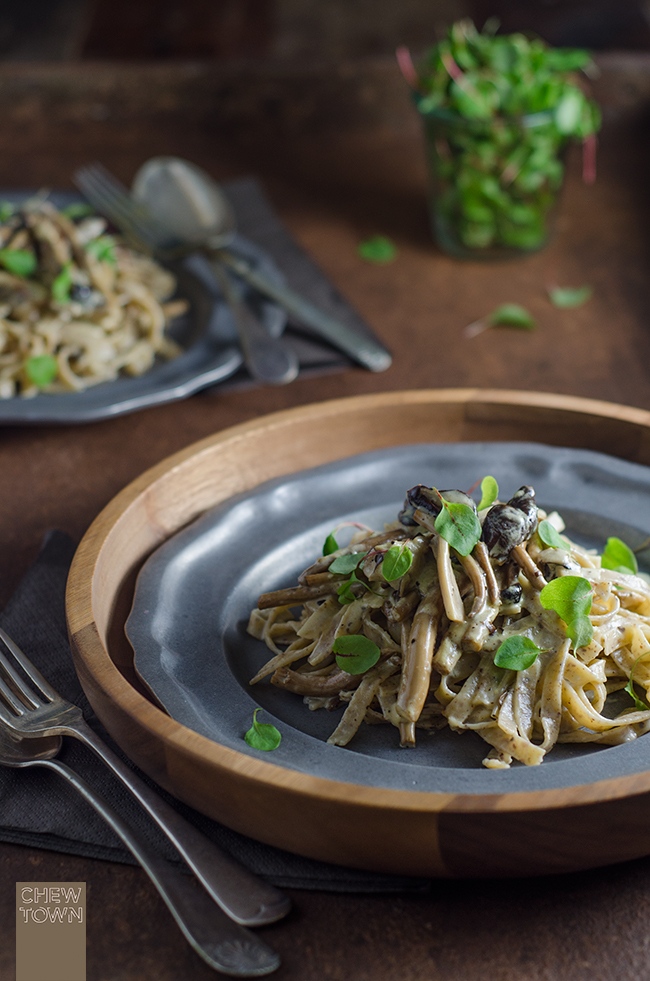 Hazelnut Fettuccine with Creamy Mushrooms | Chew Town Food Blog