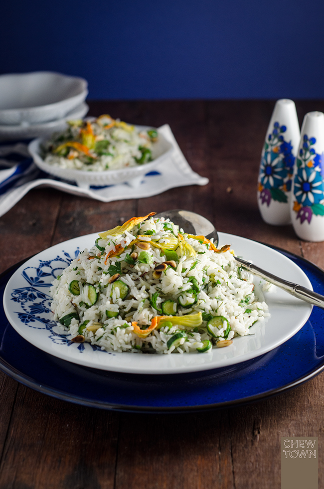 Zucchini Flower Rice Salad | Chew Town Food Blog
