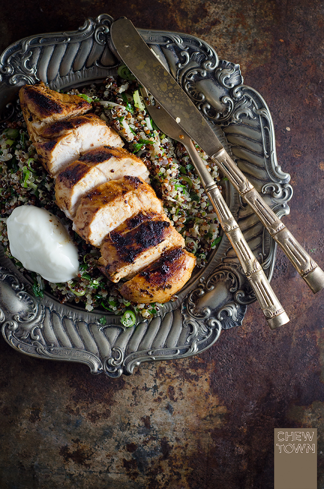 Harissa Chicken with Herbed Quinoa | Chew Town Food Blog