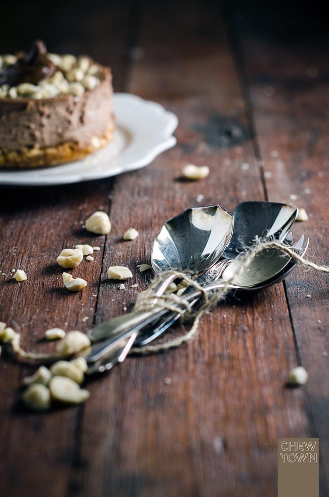 Nutella Cheesecake with Salted Popcorn Crust |Chew Town Food Blog