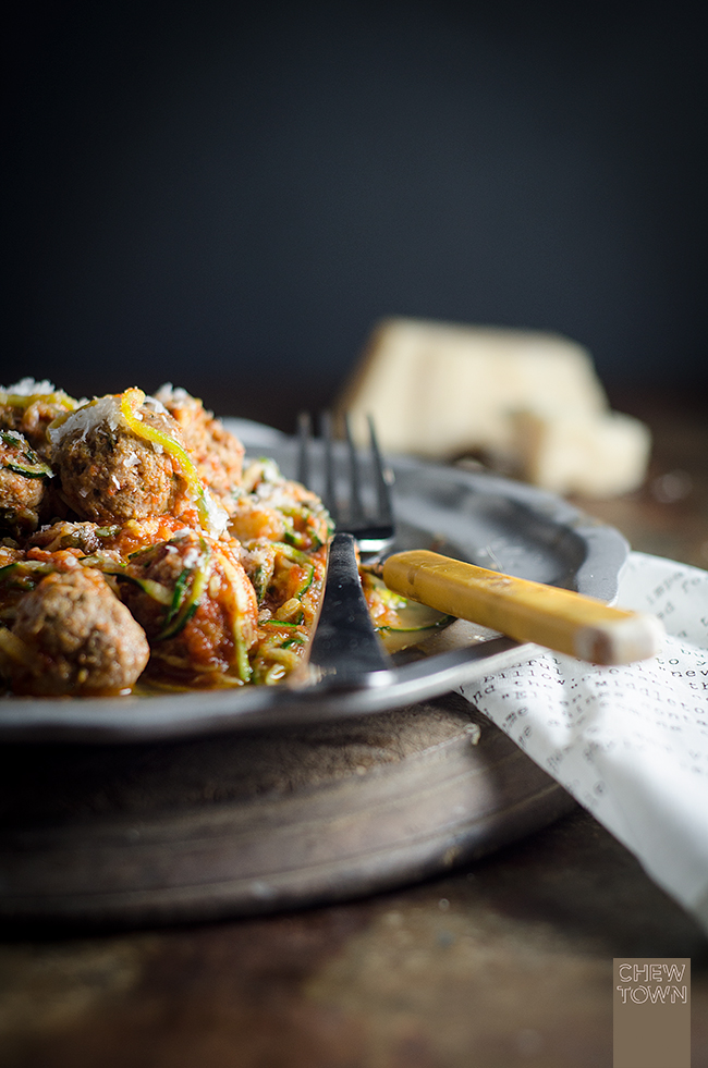 Zucchini 'Pasta' with Meatballs | Chew Town Food Blog