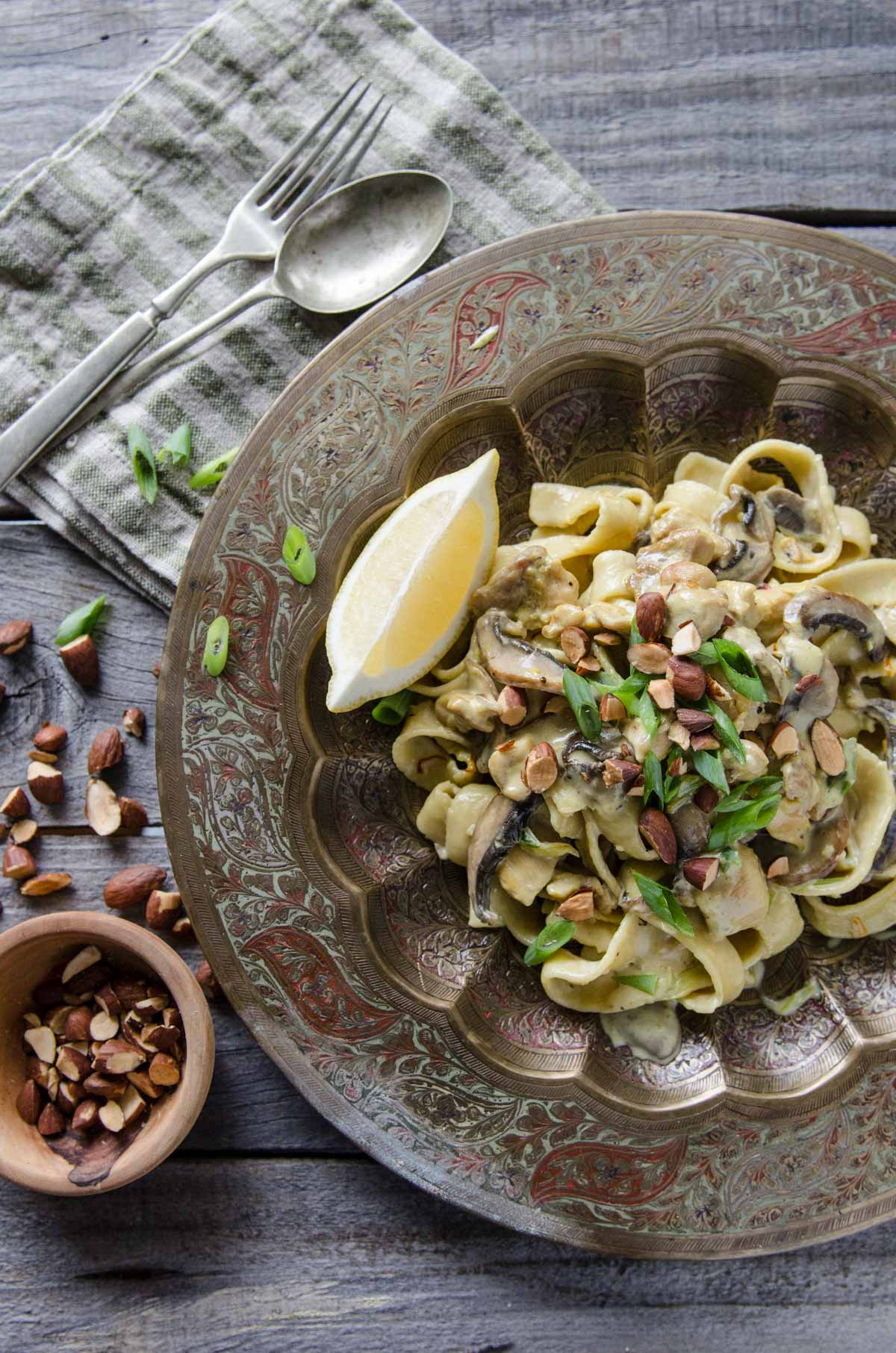 Saffron Chicken and Mushroom Cream Fettuccine | Chew Town Food Blog