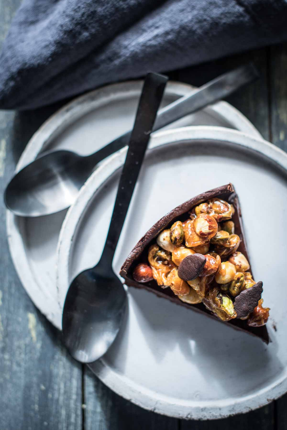 Hazelnut Pistachio Chocolate Ganache Tart | Chew Town Food Blog