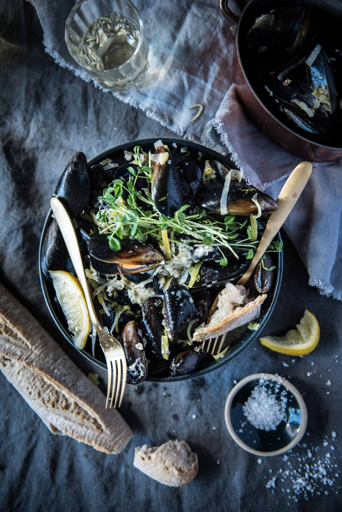 Butter and White Wine Mussels with Lemon and Snow Pea Sprouts | Chew Town Food Blog