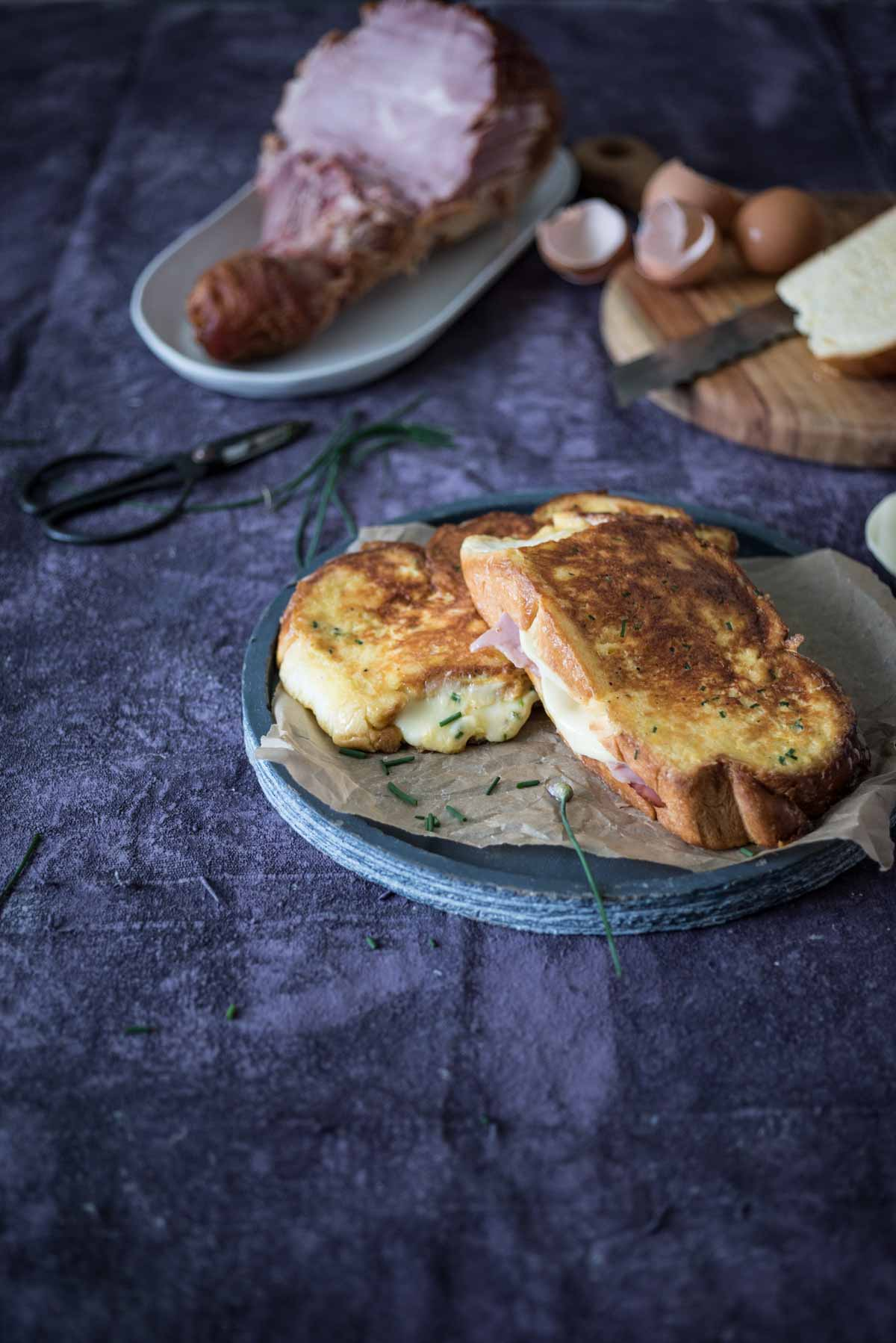 Ham and Cheese Stuffed French Toast | Chew Town Food Blog