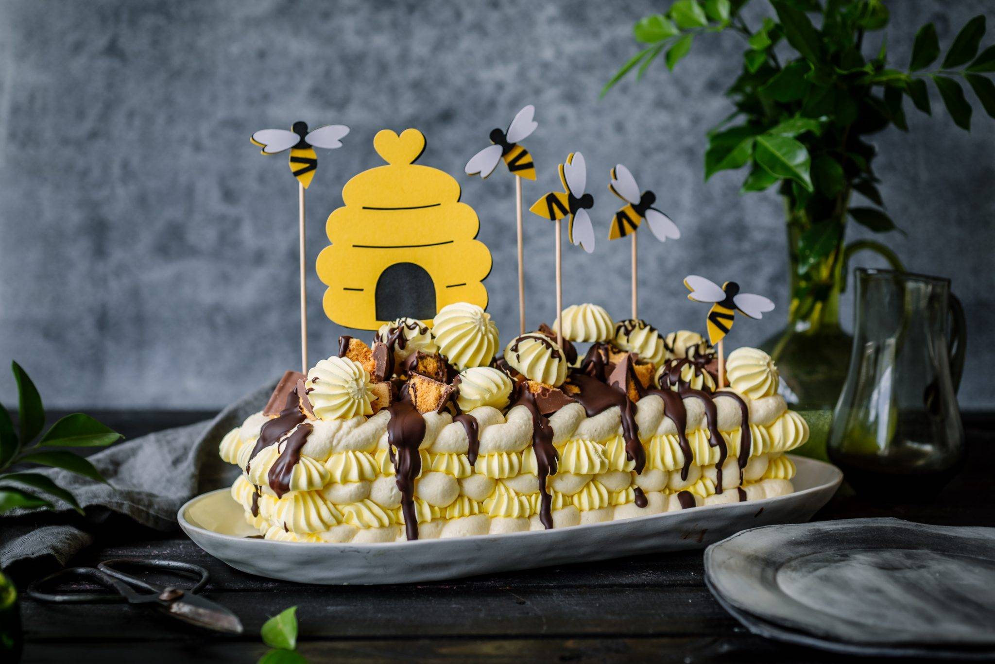 Honeycomb Meringue Cheesecake Torte   Planning a Bee Themed Birthday Party with Cricut
