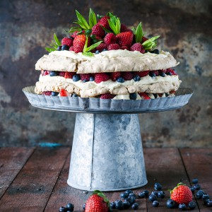 Layered Hazelnut Pavlova with Mascarpone Cream and Berries