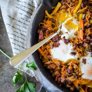 Healthier Chorizo and Sweet Potato Breakfast Hash