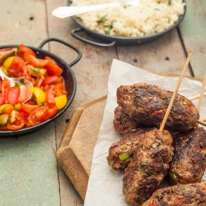 Beef Harissa Koftas with Tomato Salad and Herbed Cous Cous