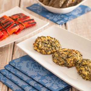 Greek Mezés - Dolmades, Red Pepper Wrapped Haloumi and Spinach Patties