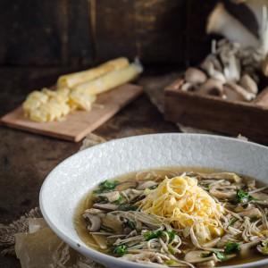 Oriental Mushroom Soup with Egg 'Noodles'
