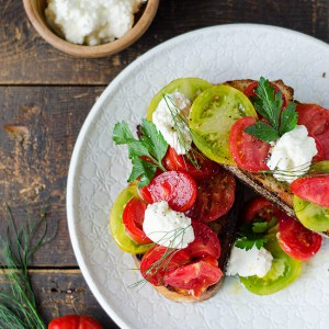 Ox Heart and Green Tomato Bruschetta