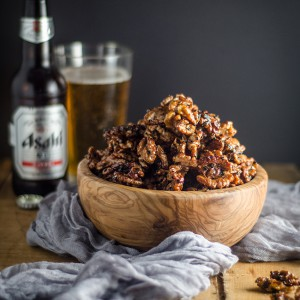 Spiced Maple and Black Sesame Walnuts