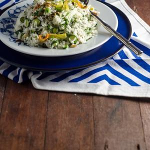 Zucchini Flower Rice Salad