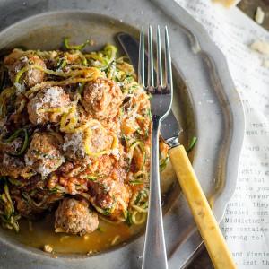 Zucchini 'Pasta' with Meatballs