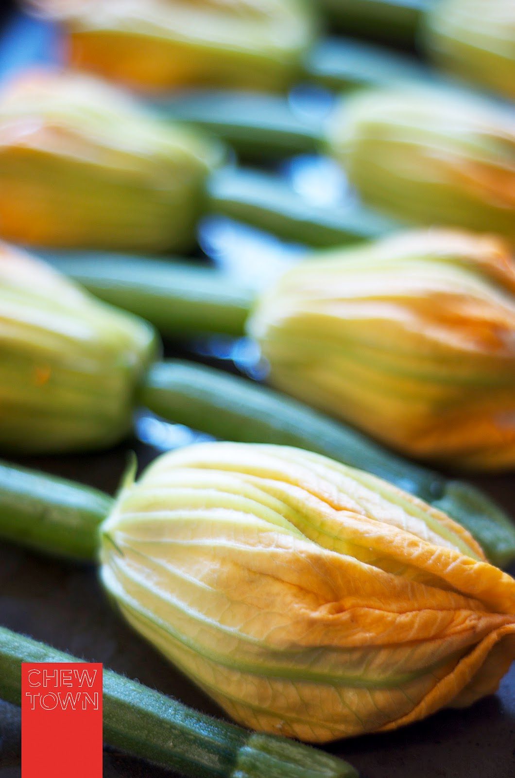 Spray A Baking Dish With A Little Olive Oil And Place The Zucchini Flowers  Top To Tail In The Dish Spray Olive Oil Over The Zucchini Flowers And  Season
